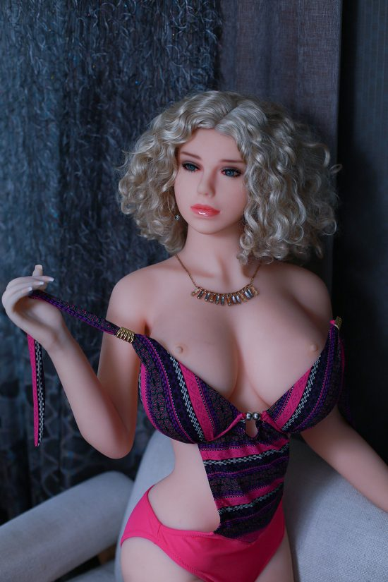 Blonde Curly Hair Heatable Silicone Sex Doll